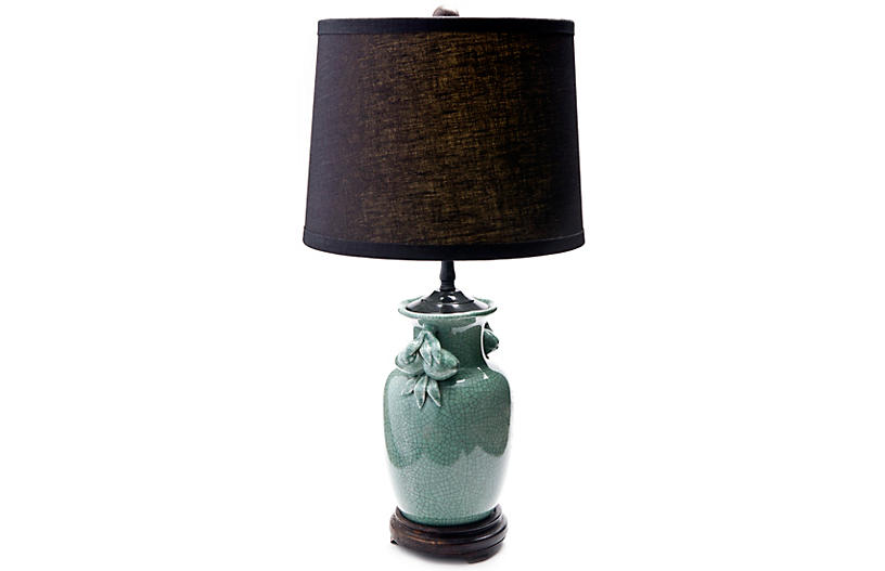 Celedon Lamp with Black Shade