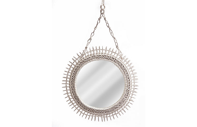 Round Wicker Mirror