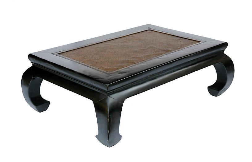Indonesian Rattan & Wood Coffee Table