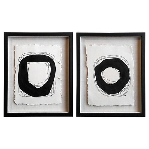 Geometric Paintings by JM, Pair