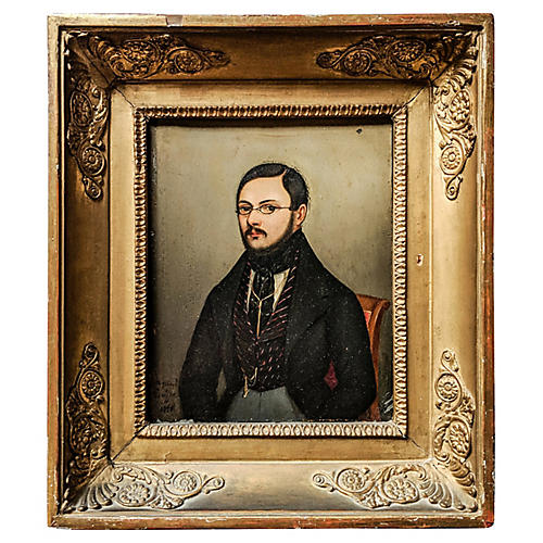 19th Century French Portrait on Metal