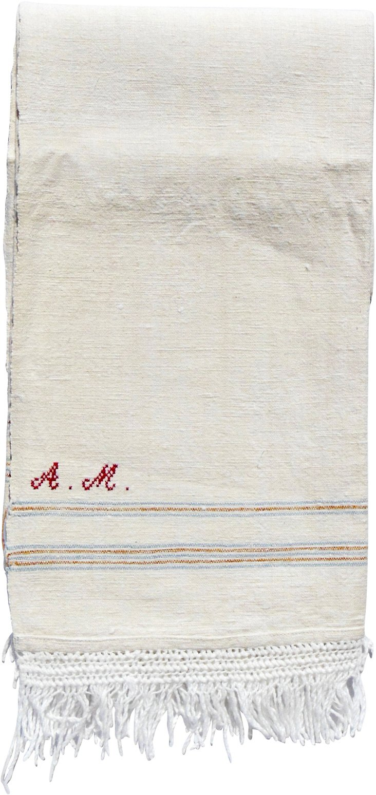 """AM"" Monogrammed Guest Towel"