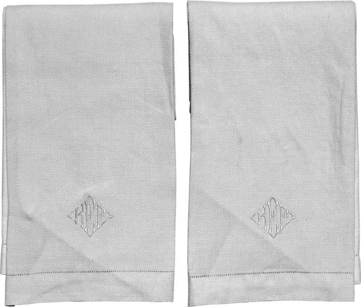 Monogrammed KEF Guest Towels, Pair