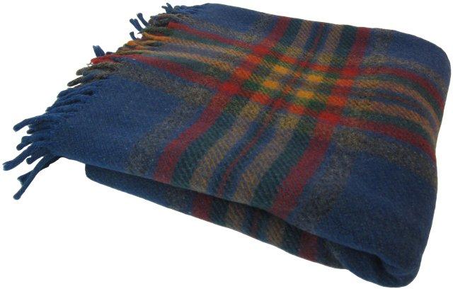 Blue Check Plaid Wool Throw