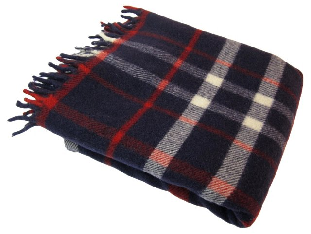 Navy & Red   Plaid Throw