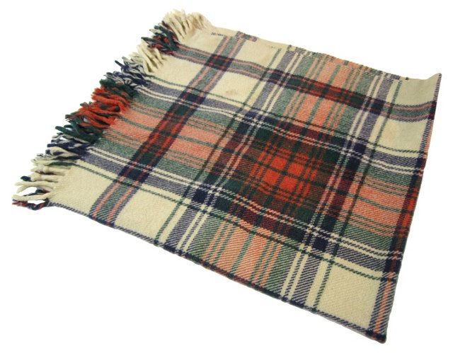 Cream Plaid Throw Blanket