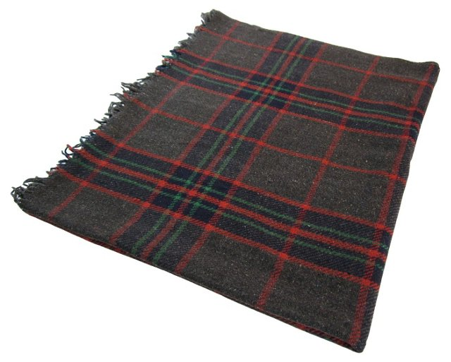 Gray & Red Plaid Throw