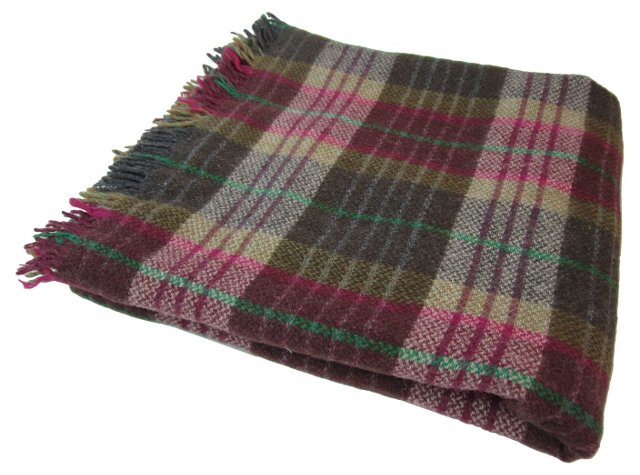 Olive & Pink Plaid Throw