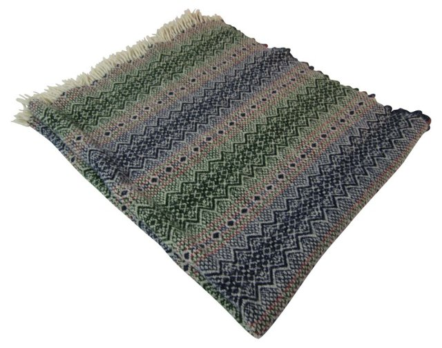 Blue & Green Fair Isle Throw