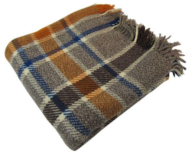 Brown Tweed Plaid Throw