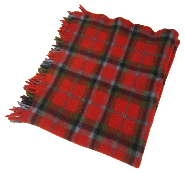 Red, Gray & Green Check Throw