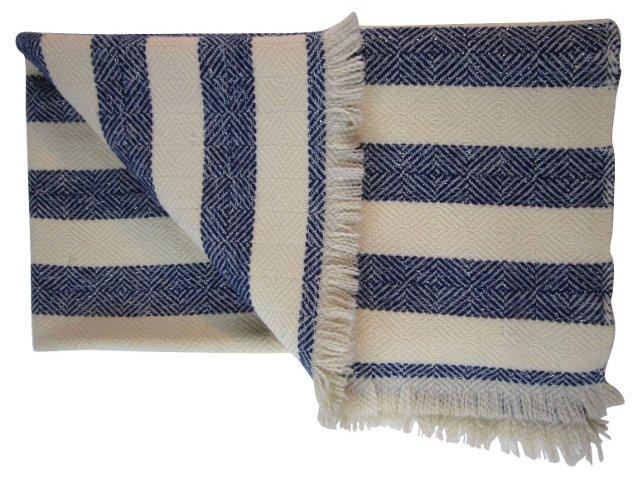 Blue Stripe Wool Throw