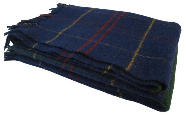 Navy Tartan Throw Blanket