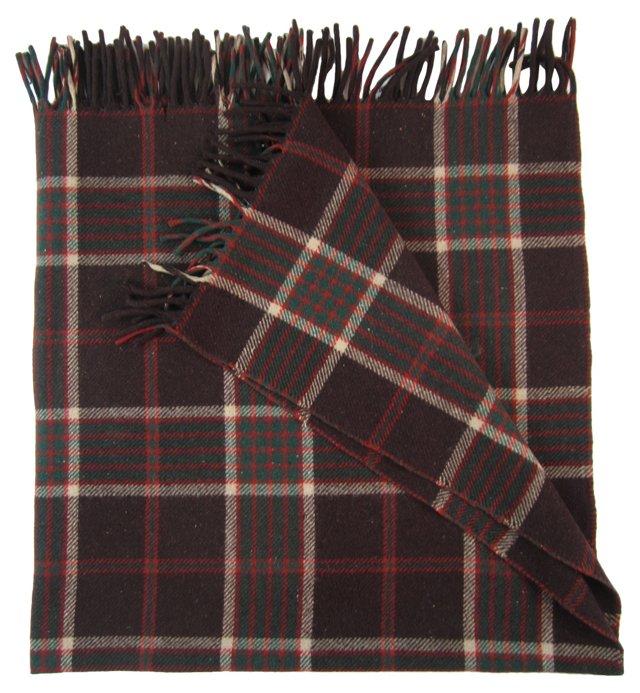 Brown & Red Plaid Wool Blanket