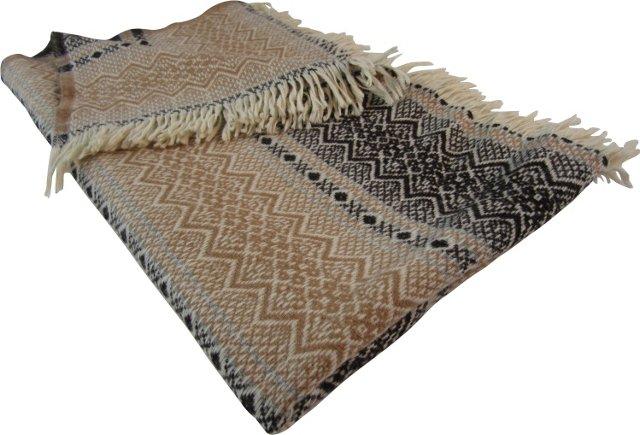 Brown Jacquard Wool Throw