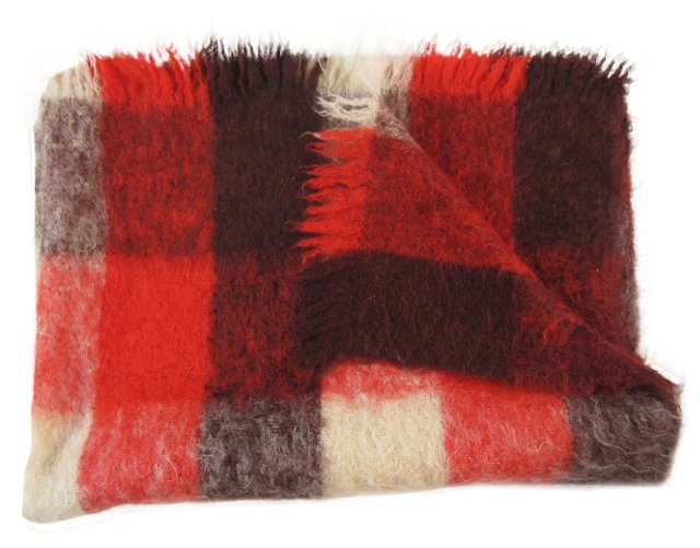 Red Mohair Check Throw