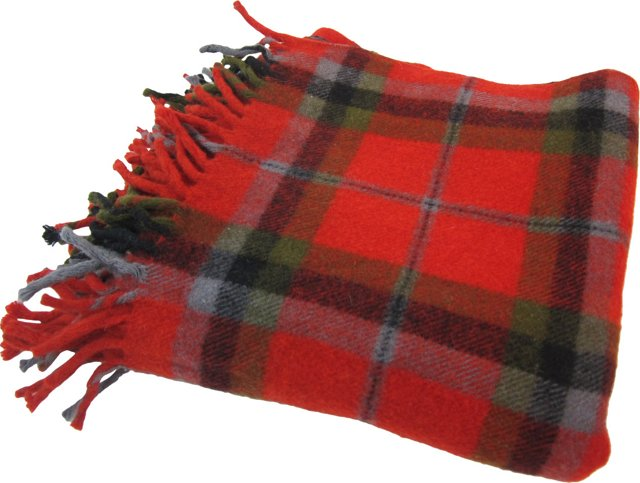 Red & Olive Plaid Throw