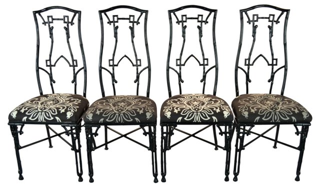 Aluminum Fretwork Chairs, Set of 4