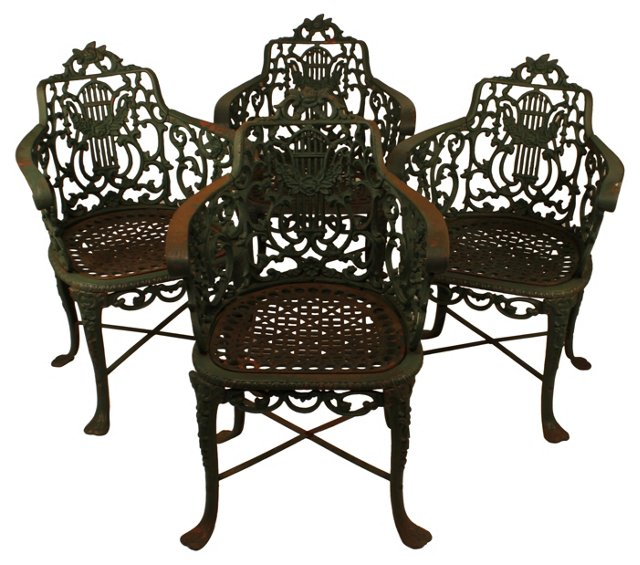 American Iron Garden Chairs, Set of 4