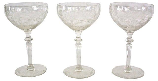 Victorian Etched Stem Glasses, S/3