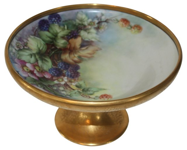 1920s Hand-Painted Gold Compote