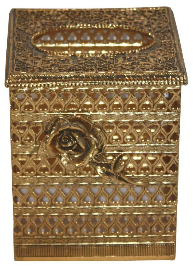 Gold Rose Tissue Box