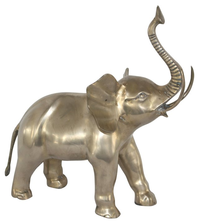 Midcentury Brass Bull Elephant