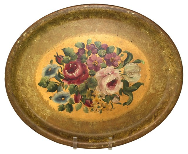 French Hand-Painted Tray