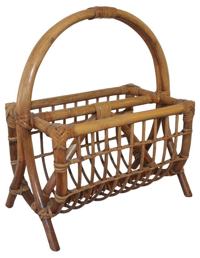 Midcentury Bamboo Magazine Rack
