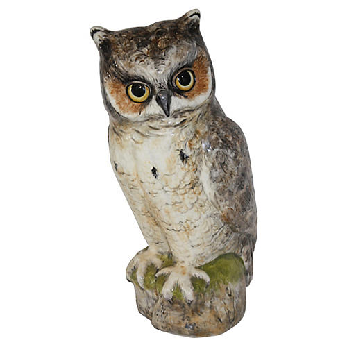 1970s Life-Size Pottery Owl, Signed