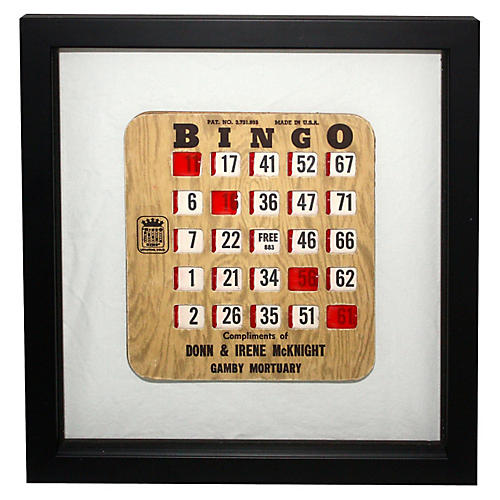 1960s Framed Bingo Card