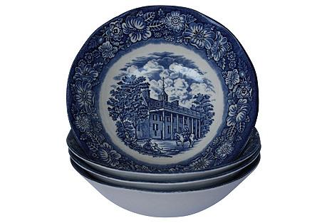 English Liberty Blue Soup Bowls, S/4