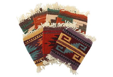 Handwoven Serape Coasters, S/7