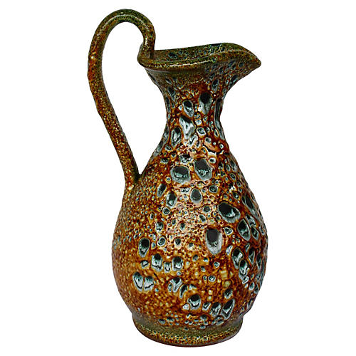 French Vallauris Fat Lava Ewer