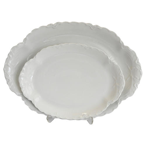 French Porcelain Platters, S/2