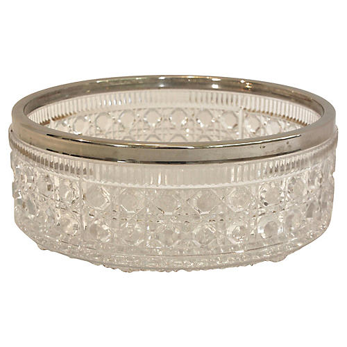 English Silver-Rimmed Glass Bowl