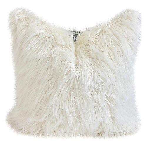 Faux-Fur & Indigo Pillow