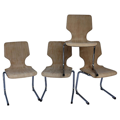 1960s West German Pagwood Chairs, S/4