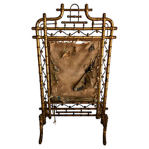 French Faux-Bamboo Fire Screen