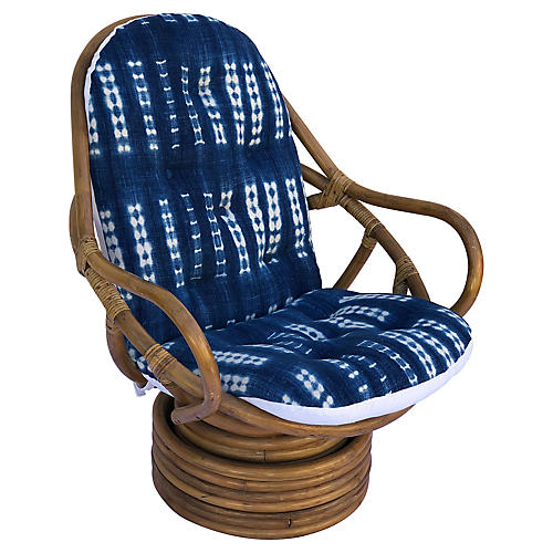 Midcentury Bamboo Swivel Barrel Chair