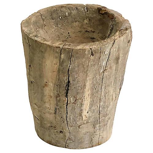 Carved Solid Wood Vessel/Planter
