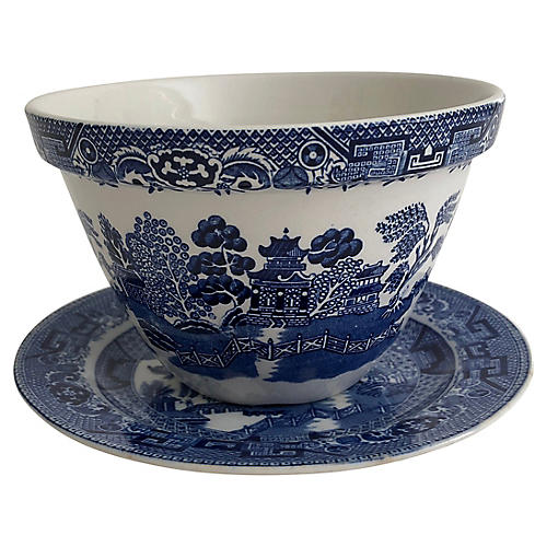 Antique English Chinoiserie Bowl & Plate