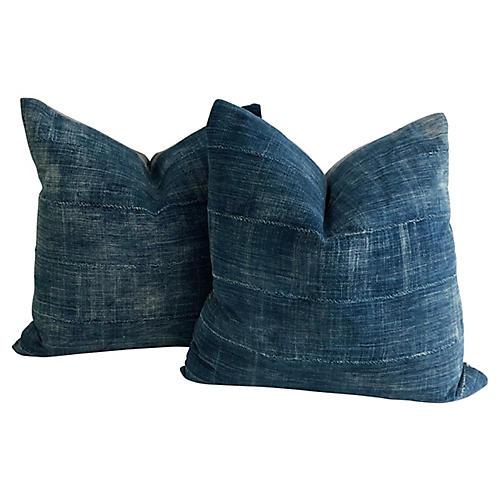 Mali Indigo Textile Pillows, Pair