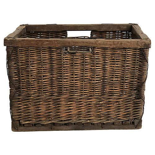 Belgian Wicker Wine Basket Crate