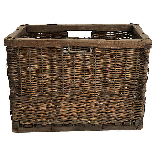 Belgian Wicker Wine Basket Crate