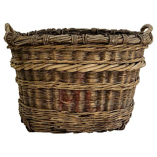 Antique French Champagne Harvest Basket
