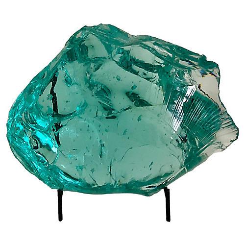 Blue Slag Glass Sculpture