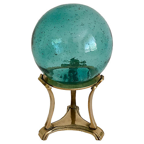 Midcentury Glass Float on Stand
