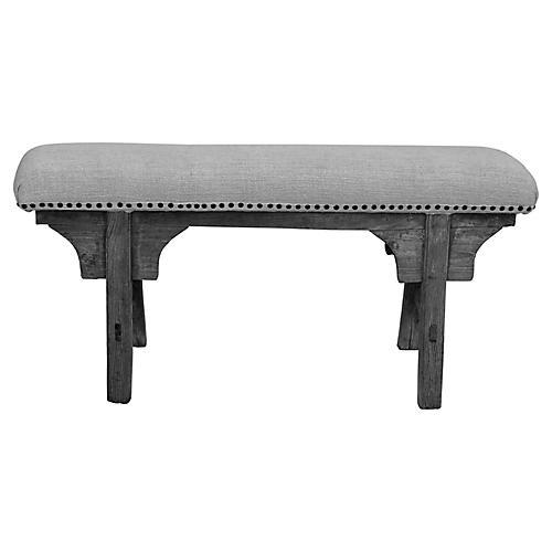 Upholstered Antique Shandong Elm Bench