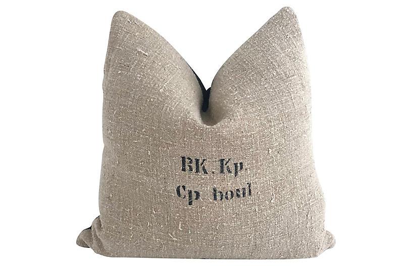 Belgian Grain Sack & Linen Pillow